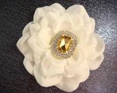 Bridal white hair flower with topaz rhinestones / champagne flower / glamorous white flower clip rhinestone flower comb