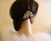 RHINESTONE FLOWER bridal hair comb / crystal hair comb brooch pin clip / silver hair pin / wedding hair comb