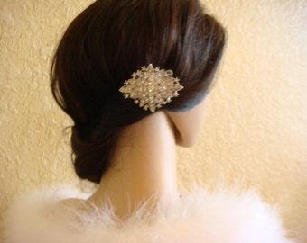 Art Deco style rhinestone bridal hair comb / crystal hair comb / silver hair pin / wedding hair comb