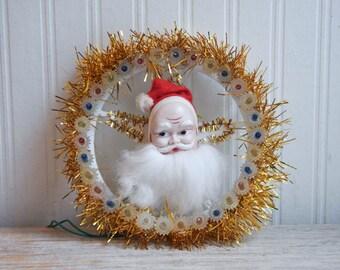 Vintage Santa Clause Light Up Wreath Decoration, Kitsch Christmas Decor, Retro Xmas Wall Hanging, Santa Plaque, Weatherproof, Indoor Outdoor