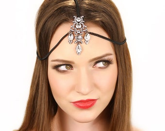 Black Crystal Grecian Chain Headpiece Headband Tikka Prom Hair Accessories