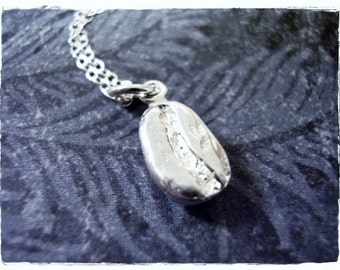 Silver Coffee Bean Necklace - Sterling Silver Coffee Bean Charm on a Delicate Sterling Silver Cable Chain or Charm Only