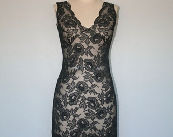 Vintage 1990s Slip Dress • Sheer Black Lace Slip Dress