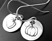 Sterling Silver Hand Stamped Pumpkin Earrings - Pumpkin Earrings - Silver Pumpkin Earrings - Fall Pumpkin Earrings - Dangle Pumpkin Earrings
