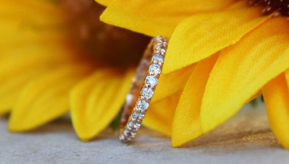 Diamond Eternity Band, 14K rose gold Diamonds crusted wedding band, Engagement ring, rose gold diamonds ring,