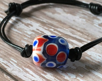 Lampwork Bracelet - Glass Bead Bracelet - Adjustable Leather Bracelet - Blue Bead Bracelet - Blue Bracelet - Leather Bracelet - Blue Bead