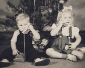 Little Brother and Sister TALKING On Their TOY TELEPHONES In This Adorable Christmas Photo Circa 1950s