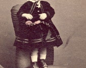 Adorable Little Blond Hair Girl with Little ROUND CURL Sitting On Top Of Her HEAD Standing On a Chair cdv Photo Darlington United Kingdom