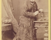 Pretty Young Woman In Flowing VICTORIAN DRESS With Layers of FRINGE cdv Photo circa 1880s Manchester England