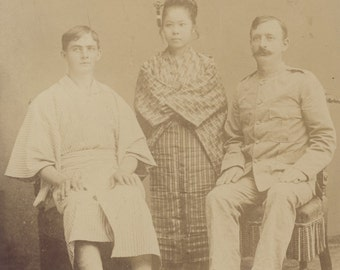 Military Man with Pretty JAPANESE WOMAN And Young Man In KIMONO Photo Circa 1900