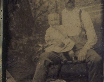 Rugged COWBOY Western Man Holds TODDLER On Knee In TENDER Tintype Photo Circa 1880