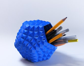 blue pen cup boy desk decor geometric