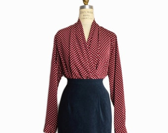 Vintage Ports 1961 Blouse / Burgundy Polka Dot Blouse / Draped Oxblood Blouse - women's medium