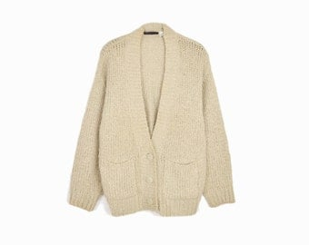 Vintage Boucle Duster Cardigan / Cozy Sweater in Almond - women's large