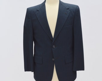 Dark Blue Pinstriped 40 S Tailor Made 50s Vintage Blazer Sports Coat Double Button Suit Jacket
