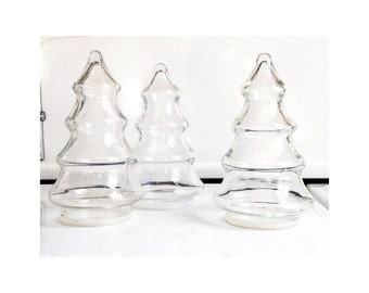 Christmas Tree Apothecary Jar Forest / Set of 3 Jars