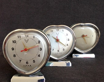Three hearts. Vintage clock trio. Retro prop setting home decor idea.