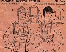 1907 Ladies Waist with Nautical Detailing  PICTORIAL REVIEW 7599 Vintage Sewing Pattern Titanic Era Downton Abbey Unprinted Pattern  Bust 38