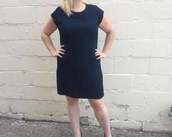 60s Blue and Black Sheath Dress - XXL 1960s Dress