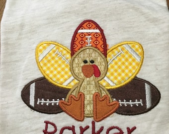 Appliqued Football Turkey Shirt