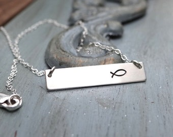Sterling Silver Ichthus Bar Necklace. Hand Stamped Jewelry. Minimalist, Christian Jewelry. Layering Bar Necklace, Jesus Fish, Ichthys