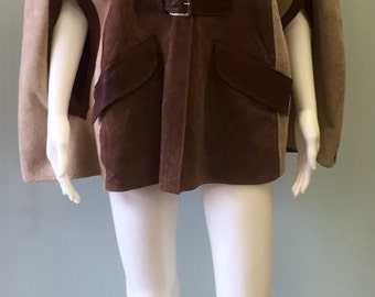 1970  Vintage brown hippie boho suede cape