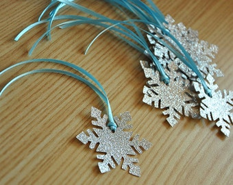 Frozen Birthday Party Decoration Party Favor Tags 10CT.  Handcrafted in 2-3 Business Days.  Snowflake Gift Tags.