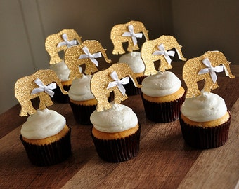 Jungle Baby Shower Decorations.   Ships in 2-5 Business Days.  Elephant Cupcake Toppers 12CT.