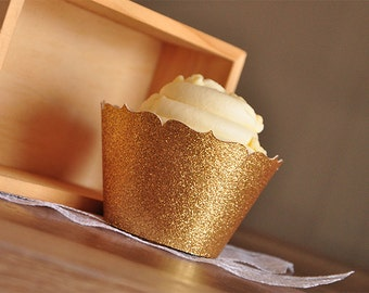 Gold Cupcake Wrappers for 40th Birthday Party.  Handcrafted in 2-3 Business Days.  Gold Cupcake Holder.  Wedding Cupcake Wrappers 12CT.