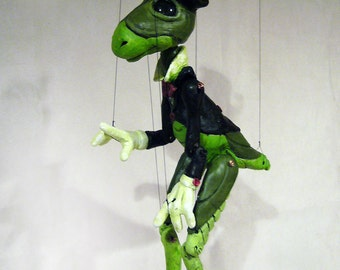 JIMINY CRICKET Hand-made, one-of-a-kind Marionette (The Adventures of Pinpcchio)