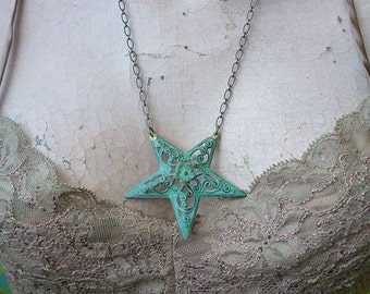 Pentacle of Flowers // Large Inverted Star Necklace with Verdigris Brass Pendant, Antiqued Brass Chain, Witchy Occult Bohemian Pagan Gypsy
