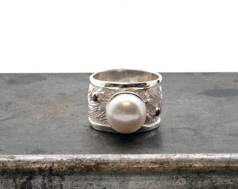 Pearl Ring, Big Sterling Silver Wide Band Pearl Ring with Rubies or Sapphires, Wedding Engagement Ring, June Birthstone, Glamorous Bijoux
