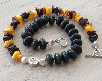 Black Lava Stone and Baltic Amber Necklace, Chunky Boho Chic Unique Necklace, Santorini Lava Modern Necklace, Lava Jewelry, Amber Jewelry