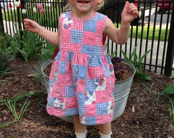 Early 90's Osh Kosh Pink and Blue Patchwork Dress and Capri Set Size 24 Months