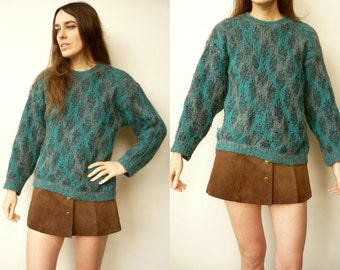 1990's Vintage Green Knitted Slouchy Jumper Size S/M
