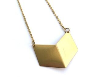 Brass Chevron Necklace, Geometric Minimal V Shaped Pendant for her
