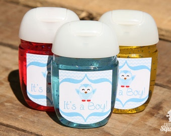FITS NEW SANITIZERS! - Owl - It's a Boy! - Sanitizer Labels, Perfect for Baby Showers, Owls, Favors For Baby Shower, Blue, Happy Owl