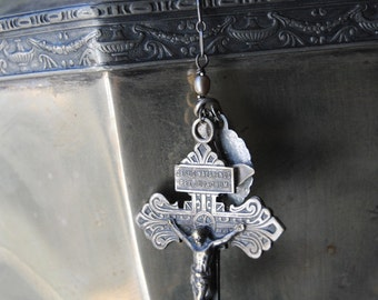 Keep The Cross Close--Freshwater Pearl Sterling Chain Holy Medal Bird Charm French Crucifix Lariat