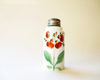Antique Milk Glass Salt Shaker Hand Painted Mt Washington Opalware Salt Shaker Retro Kitchenware Red Strawberries