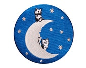 Cat Patch - Moon Patch - Embroidered Patch - Badge - Cats on the Moon - Glow in the Dark - Stars - Space  Moon  Man in the Moon