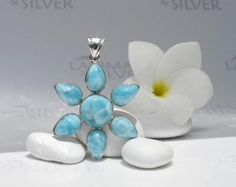 Larimarandsilver pendant, Caribbean Flower 1 - turquoise Larimar flower, sky blue, blue daisy, Caribbean turquoise, handmade Larimar pendant