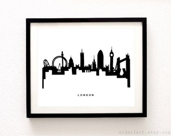 London Skyline Print - London Cityscape Print - London Wall Art - Modern City Print - Black and White - Minimalist Cityscape - Aldari Art
