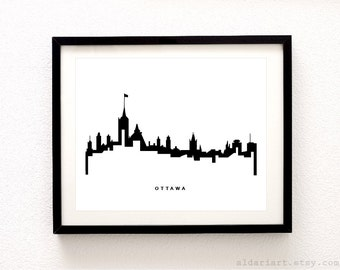 Ottawa Skyline - Cityscape Print - Ottawa  Wall Art - Ottawa Print - Ottawa City Print - Modern Black and White Wall Art - Aldari Art