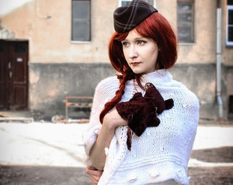 Brown fascinator hat  Garrison cap Womens hat made in 1970ies, Elegant autumn winter spring hat