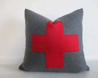 Wool Pillow Cover Grey w Red Swiss Cross