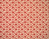 Red Floral, Print Fabric, Quilting Cotton, Small Flowers, Leaves, Pale Pink, 33 x 17, B3