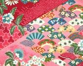 Quarter Yard, Pink Red Large Floral, Print Fabric, Quilting Cotton, Robert Kaufman, Flowers, Diamonds, White, Blue, 44 x 11, B3