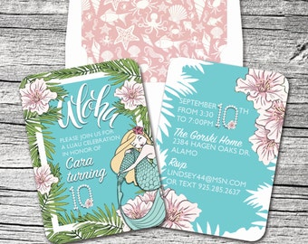 Hawaiian Mermaid Invitation and Thank You Cards (sold separately)