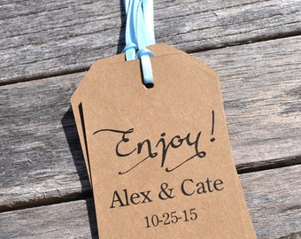Rustic Baby Shower Favor Tags Enjoy, Wedding Thank You Tags, Kraft Favor Tag, Bridal Shower, Birthday Favor Tags - Set of 12