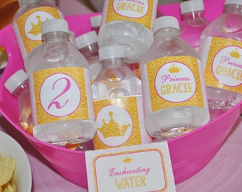 Princess Water Bottle Labels - Birthday Party Drink Labels Water Resistant - Princess Crown Party Decorations - Set of 10